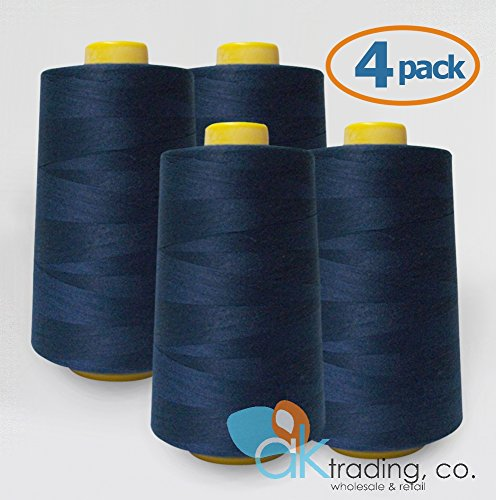 AK Trading 4-Pack Navy Blue All Purpose Sewing Thread Cones (6000 Yards Each) of High Tensile Polyester Thread Spools for Sewing, Serger Machines, Quilting, Overlock, Merrow and Embroidery