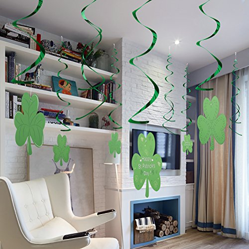 30 Pieces St Patrick's Day Foil Swirl Party Decoration, WOVTE Lucky Irish Green Shamrock Hanging Swirl, Perfect for Hanging Ceiling Window Wall Party Decor Supplies Value Pack