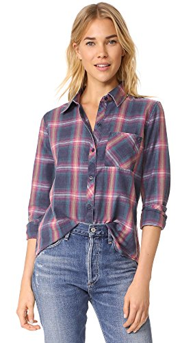 Rails Women's Hunter Button Down Shirt, Navy/Pink/Jade, X-Small