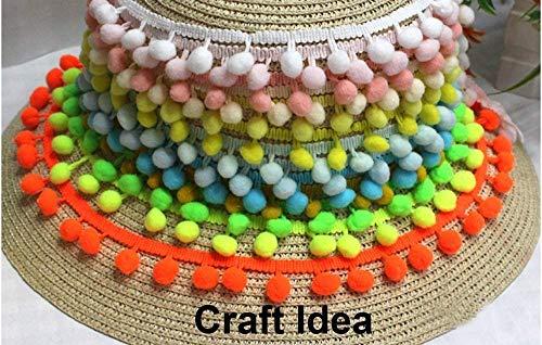 """YCRAFT One Roll 18 Yards Ball Fringe 7/8"""" Wide Pom Pom Trim Ribbon Sewing-Grey"""