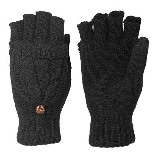 Metog Women Warmer knitted Winter Fingerless Gloves Mittens Black