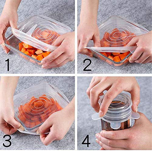 Reusable SILICONE STRETCH LIDS Set -12 pack - No More Cling Wrap - Universal Expandable ECO-Friendly Ultimate Instalids, Clear Covers Stretch & Seal Various Sizes Bowls, Jars, Cups, Cans or Containers