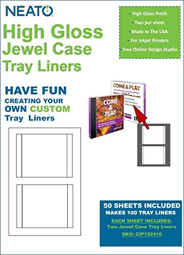 Neato High Gloss Jewel Case Tray Liners – 50 Sheets – Makes 100 Tray Liners - Free Online Design Software