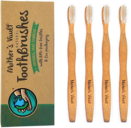 Mother's Vault Bamboo Toothbrushes | Child Size Bamboo Toothbrush - 6 Inch Handle & 1 Inch Head | Natural Kids Toothbrush | Biodegradable & Eco Friendly | Medium/Soft BPA-Free Nylon Bristles