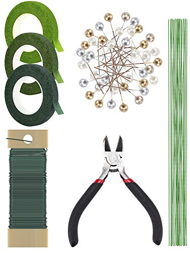 Biubee Floral Arrangement Kit with Green Floral Tapes, 26 and 22 Gauge Floral Stem Wires, 1 Floral Wire Cutter& 100 Pcs Ball Head Pins for Wedding Bouquet Stem Wrap DIY Supplies