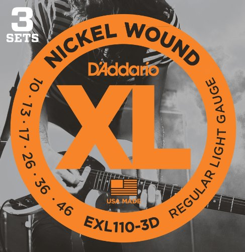 D'Addario EXL110-3D XL Nickel Wound Electric Guitar Strings, Regular Light Gauge - Round Wound with Nickel-Plated Steel for Long Lasting Distinctive Bright Tone and Excellent Intonation-10-46, 3 Sets