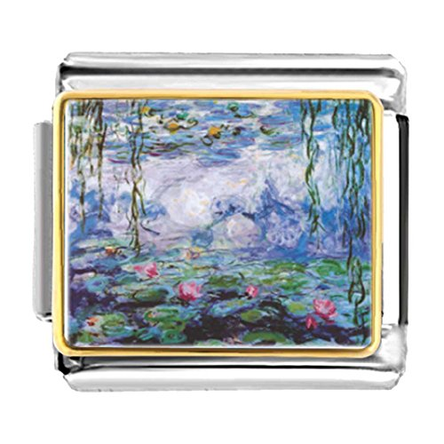 GiftJewelryShop Gold Plated Art of Water Lilies Painting Bracelet Link Photo Italian Charm