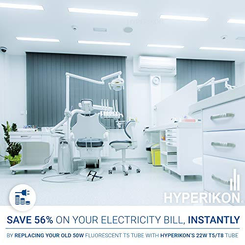 Hyperikon T5 T8 LED Tube 3.75 Foot, 22W=50W, Bi-Pin G5, Dual End Ballast Bypass, Clear Lens, UL, DLC, Daylight White, 24 Pack