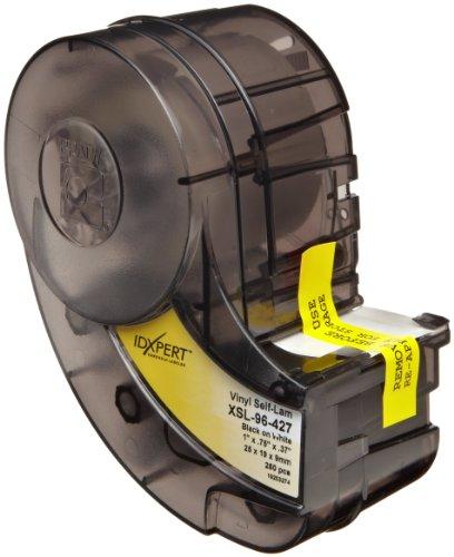 "Brady XSL-96-427 Idxpert 0.75"" Height, 1"" Width, B-427 Self-Laminating Vinyl, Black On White And Translucent Color Label (250 Per Cartridge)"