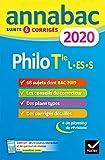 Annales Annabac 2020 Philosophie Tle L, ES, S - Sujets et corrigés du bac Terminale séries générales