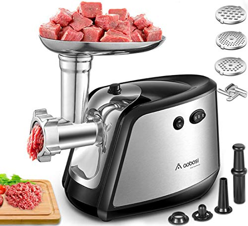 Electric Meat Grinder, Aobosi 3-IN-1 Meat Mincer & Sausage Stuffer,【1200W Max】Sausage & Kubbe Kits Included, 3 Grinding Plates,Stainless Steel | Home Kitchen & Commercial Use