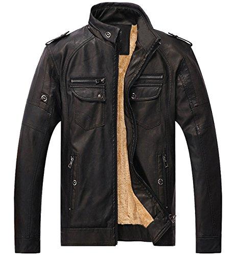 Men's Vintage Fleece PU Faux Leather Jacket Casual Thick Zip Up Winter Moto Coat Black Medium