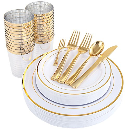 WDF 25Guest Gold Plastic Plates with Gold Silverware,Disposable Cups-include 25 Dinner Plates, 25 Salad Plates, 50 Forks, 25 Knives, 25 Spoons &Plastic Cups/Bonus 25 Mini Forks (Dinnerware)