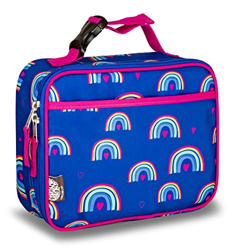 LONECONE Kids Insulated Lunch Box - Cute Patterns for Boys and Girls Hearts and Rainbows Standard
