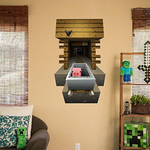 JINX Minecraft Wall Cling Decal Set (Minecart, Steve)