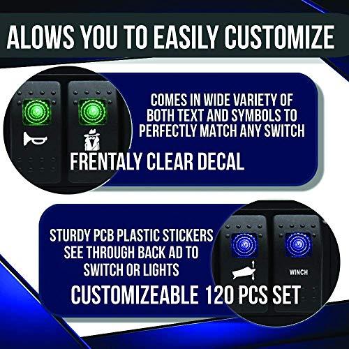 Frentaly 120 PCS Clear Backlight Glow Bright White Design Custom Rocker Switch Boat Car Vehicle Utility Stickers