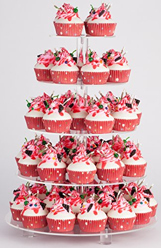 YestBuy 5 Tier Round Acrylic Cupcake Stand with Base¡­
