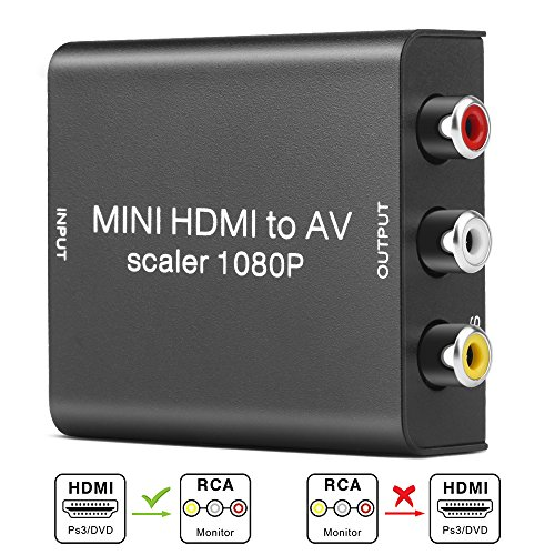 HDMI to RCA, Electop 1080P Mini HDMI to AV 3 RCA CVBS Converter 1080P Composite Video Audio Converter Adapter Support PAL/NTSC with USB Cable for PC Laptop PS4 HDTV STB VHS VCR Camera -Metal