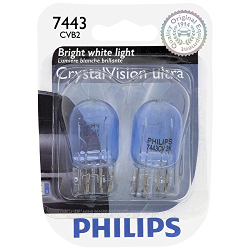 PHILIPS 7443CVB2 7443 CrystalVision Ultra Miniature Bulb, 2 Pack