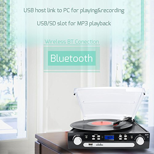 Digitnow Bluetooth Viny Record Player Turntable, Cassette,Radio and Aux in with USB Port and SD Encoding Remote Control,Built in Stereo Speaker,Stand Alone Music Player ,Audio Built In Amplifier