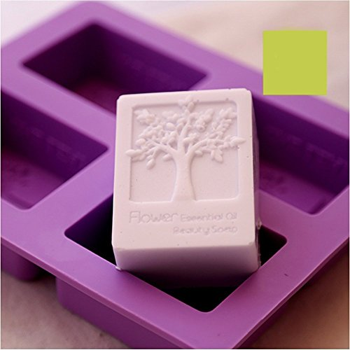 Errollina 4 Cavity Happiness Tree Silicone Soap Cake Mold DIY Handmade Baking Cupcake Chocolate Bread Jelly Muffin Pan Pudding Bath Bomb Ice Cube Mould