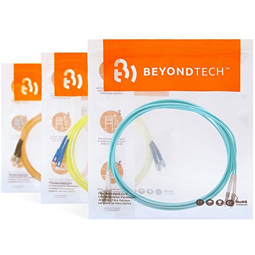LC to ST OM4 Fiber Patch Cable Multimode Duplex - 3m (9ft) - 50/125 100Gb Aqua Color - Beyondtech PureOptics Series