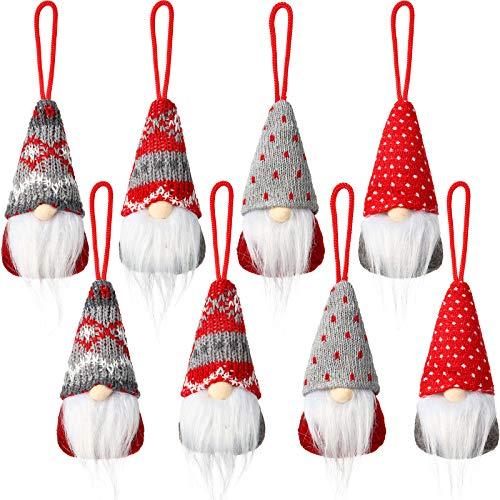 8 Pieces Gnome Christmas Ornaments Handmade Plush Gnomes Santa Elf Christmas Decorations Tree Hanging Scandinavian Santa Elf Home Table Decor