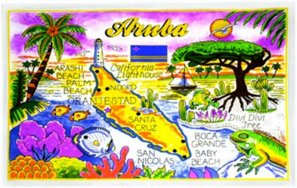 Aruba Map Cotton Tea Kitchen Towel 19 X 30