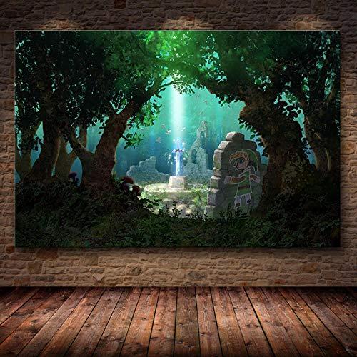LDTSWES® Painting Art Jigsaws Puzzles Puzzle, Legend of Zelda Games Jigsaw Puzzles Wooden 1000 Piezas, para niños Decoración de la habitación Puzzle Sin Marco