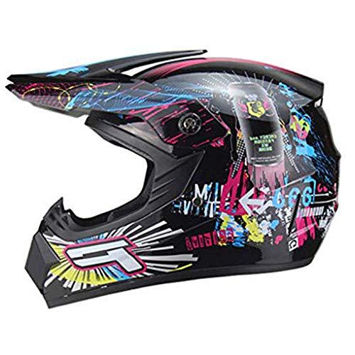 CZLWZZD Jugend-Motorrad-Vollvisierhelm, für Teenager Jungen und Mädchen,Go-Kart,Off-Road,Cross,Scooter,Sport-Off-Road-Helm für Erwachsene und Kinder, DOT-Zertifiziert