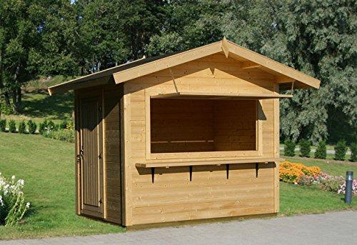 Verkaufsstand Halesia H10 inkl. Fußboden, naturbelassen - 28 mm Blockbohlenhaus, Grundfläche: 4,30 m², Satteldach