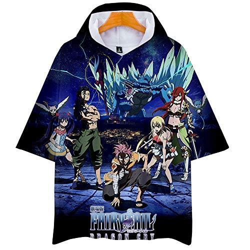 Fairy Tail 3D Impresión Anime Hoodie T-Shirt Cosplay Manga Corta Camiseta Verano Pullover Tops Sudadera Con Capucha M