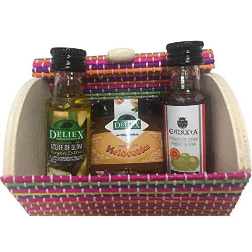 Baúl de madera multicolor con miniaturas de aceite, vinagre y mermelada para regalo (Pack 24 ud)