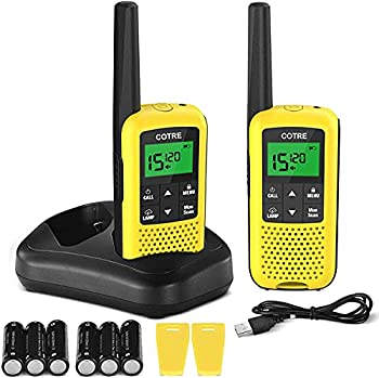 Walkie Talkies for Adults - COTRE Two Way Radios Up to 32 Miles Long Range USB Rechargeable Walkie Talkies w/ 2662 Channels NOAA & Weather Alerts VOX Scan LED Lamp for Outdoor Activities Yellow