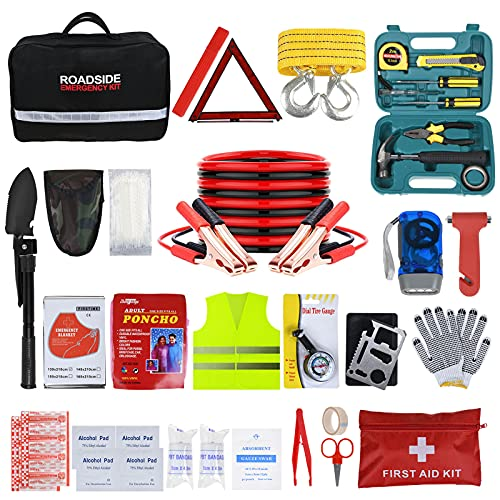 ISWEES Car Emergency Kit Auto Roadside Assistance Tool Bag with Winter Vehicle Safety kit Car Emergency Truck LED Blanket Shovel for Women and Men with Jumper Cables (13.39 8.66 4.72)