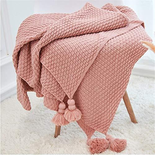 BZRXQR Versátil 130 x 170cm Manta nórdica con Flecos de Punto de Bola Colgante de la Manta del sofá Inicio Manta el Viaje de Camping de la Sala sofá (Color : Light Pink, Size : 130X170CM)