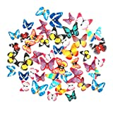 GEORLD 48Pcs Edible Cupcake Toppers Cake Butterfly Decoration Birthday Party Mixed Size & Colour