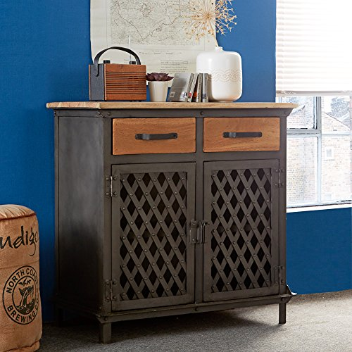 OWO Living Rustic industrial Handcrafted Solid Wood And Reclaimed Metal Small Sideboard Cupboard Cabinet