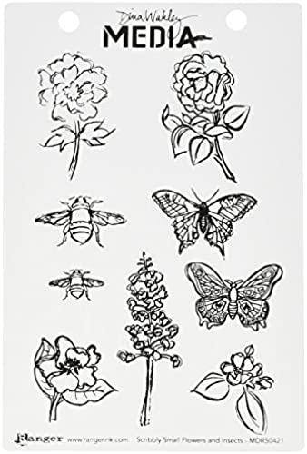 nuevo sádico Ranger Scribbly Flowers & Insects Cling Cling Cling Rubber Stamp Set by Ranger  precio razonable