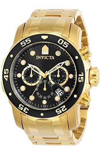 Invicta Pro Diver Men's 0072 Collection Chronograph Plated Watch, 18k Gold/Black