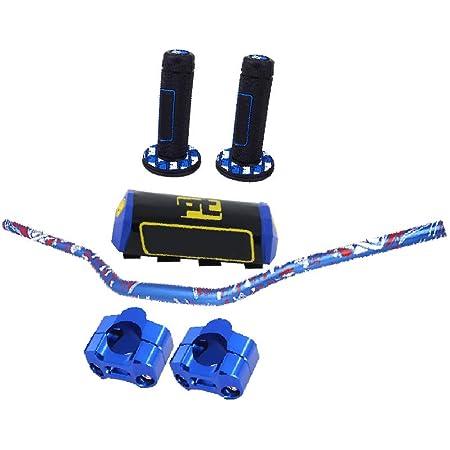"Handlebar Set 1 1/8"" 28mm Motorcycle Handlebar Handle Bars + Riser Mount Clamp + Pad + Grips For Dirt Bike Off Road Bike Pit Bike -Blue …"