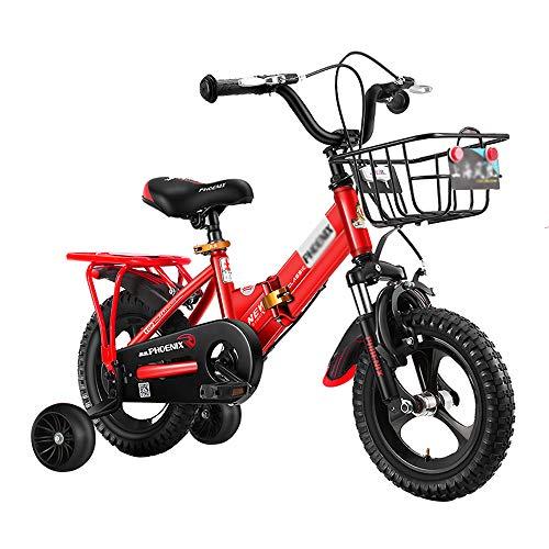 Bicicletas para Niños Bicicleta Deportiva para Niños con 2 Ruedas Auxiliares Asiento Ajustable Cochecito De Bebé para Mujer 12'14' 16'18' Estabilizadores Extraíbles