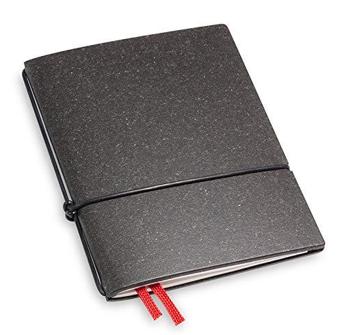 A7 und 7 mm dünn! Revolutionäres, kleines X17- Notizbuch! Recyceltes Leder, dunkel grau; Inhalt: 1 Notizheft (blanko) + Buchband, austauschbar=nachhaltig! Made in Germany, 17 Jahre Garantie*