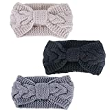 3pcs Turbante Diademas Mujer Lana Banda Pelo Cabeza Anchas Elástico Invierno Primavera Otoño (3pcs, Negro+Gris+Beige)