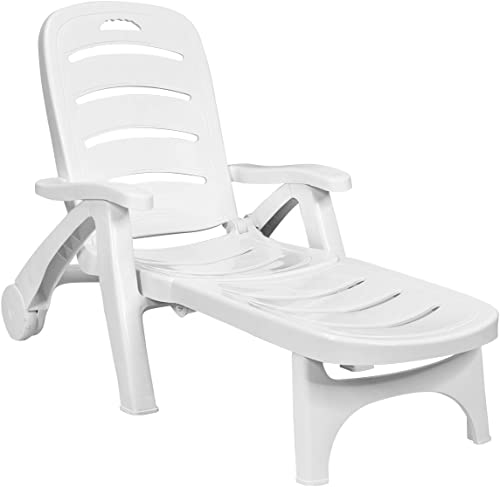 new arrival Giantex online sale Lounge Chair Outdoor Folding Lounger with Wheels, 5 Adjustable Backrest Positions Lightweight Recliner Chaise Chair Suitable for outlet sale Patio, Backyard, Poolside Chaise Lounge sale