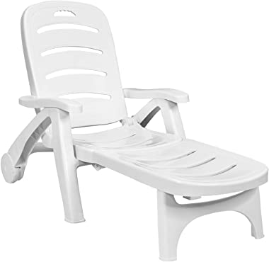 Giantex Lounge Chair Outdoor Folding Lounger with Wheels, 5 Adjustable Backrest Positions Lightweight Recliner Chaise Chair S