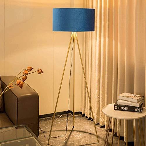 salon trépied classique Lampadaire Minimaliste Lampe Sur Pied Avec interrupteur LED moderne avec abat-jour en tissu Lampe De Sol E27 en métal pour lampe de lecture bureau chambre à coucher (bleu)