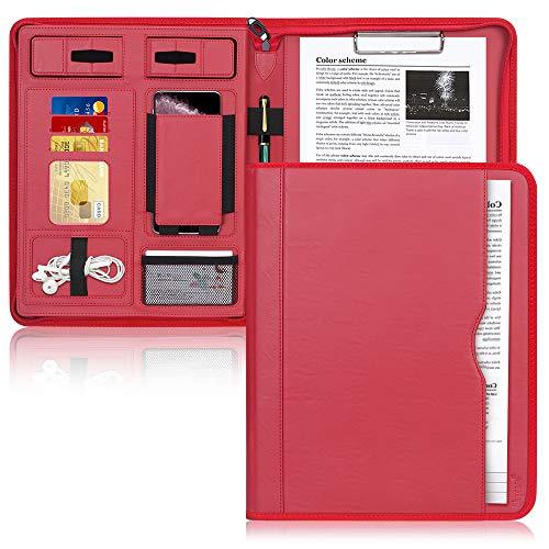 Padfolio Case, Skycase Business Portfolio-Ordner, Konferenzordner mit Reißverschluss, Dokumenten-Organizer mit Zwischenablage in Buchstabengröße,Tablet-Hülle (bis zu 12,9 Zoll Tablet),Rot