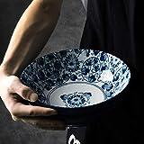 12LYN Plato de cerámica de la Vendimia Creativa Gran Capacidad Plato de Fruta Ensalada Inicio Ramen Bowl Vajilla (Color : Full of Flowers, Size : 1300ML)
