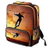 Mochila escolar informal con estampado de olas marinas para ordenador portátil, mochila multifuncional, Patrón #7 (Multicolor) - backpacks013